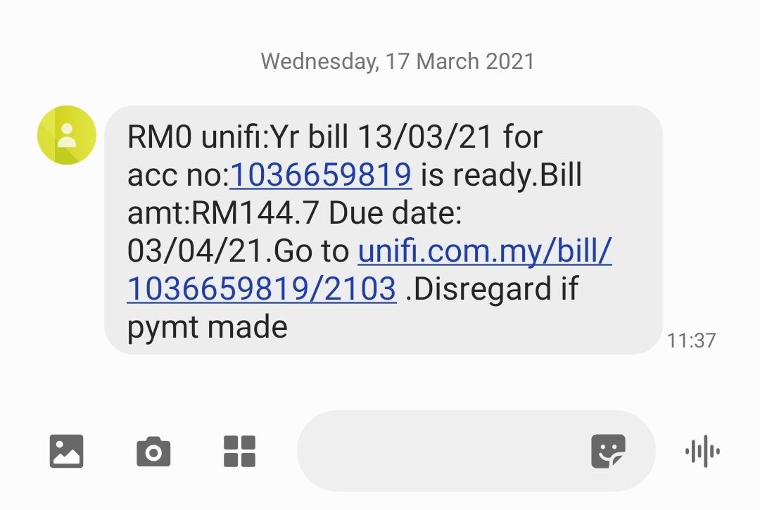 Bayar Bil Unifi Melalui SMS